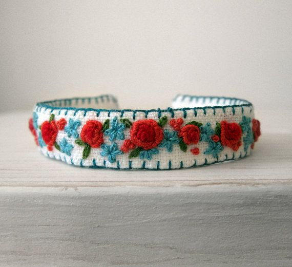 Boho Cuff Bracelet Hand Embroidered Roses in Red and by Sidereal, $48.00