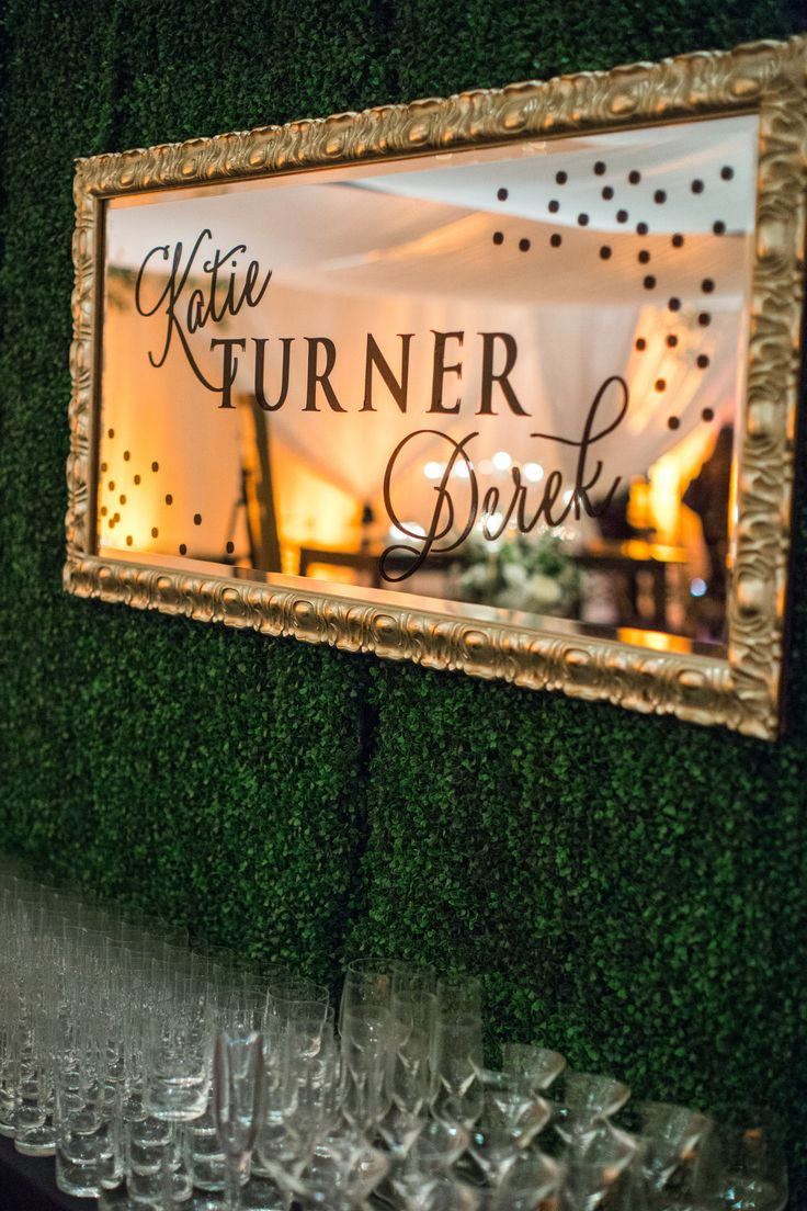 Easy Wedding Decor -- Mirrors with Messages | See this wedding on SMP: http://www.StyleMePretty.com/southwest-weddings/2013/12/09/scottsdale-arizona-wedding/ Gina Meola Photography