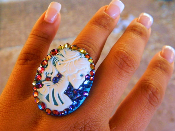 The Dead Mermaid Skull Cameo Ring Blue Rainbow by CarleaPink, $32.00