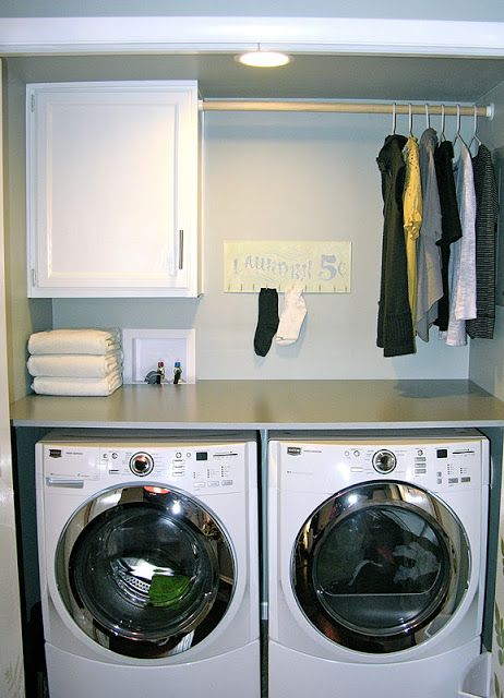 DIY shelf for top of washer/dryer. Also like single larger cabinet with drying rod for small nook/space in room.