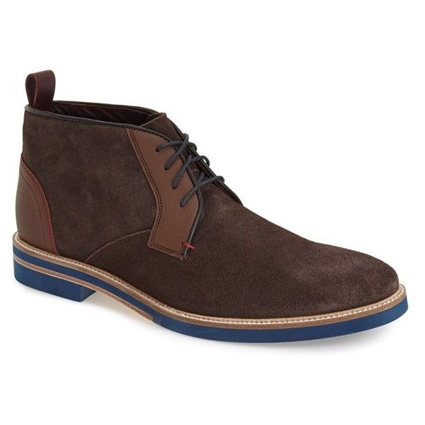 Men's Ted Baker London 'Challen' Chukka Boot featuring polyvore, men's fashion, men's shoes, men's boots, brown suede, mens shoes chukka boots, mens suede chukka boots, ted baker mens boots, mens boots and mens brown boots