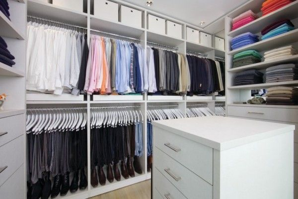 organized closet mens color