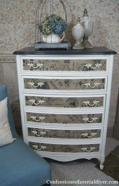 French Fabric Dresser Makeover - by Confessions of a Serial DIYer