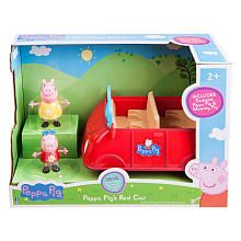 Beep beep! Go on a ride with Peppa's Red Adventure Car! Press the button on car door for fun sound effects, phrases and songs. Includes movable Peppa and Mummy Pig exclusive figures.