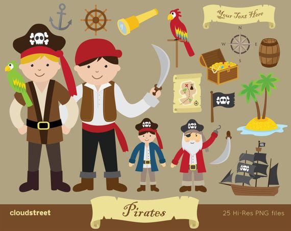 buy 2 get 1 free Pirate Clipart for personal and by cloudstreetlab, $4.95