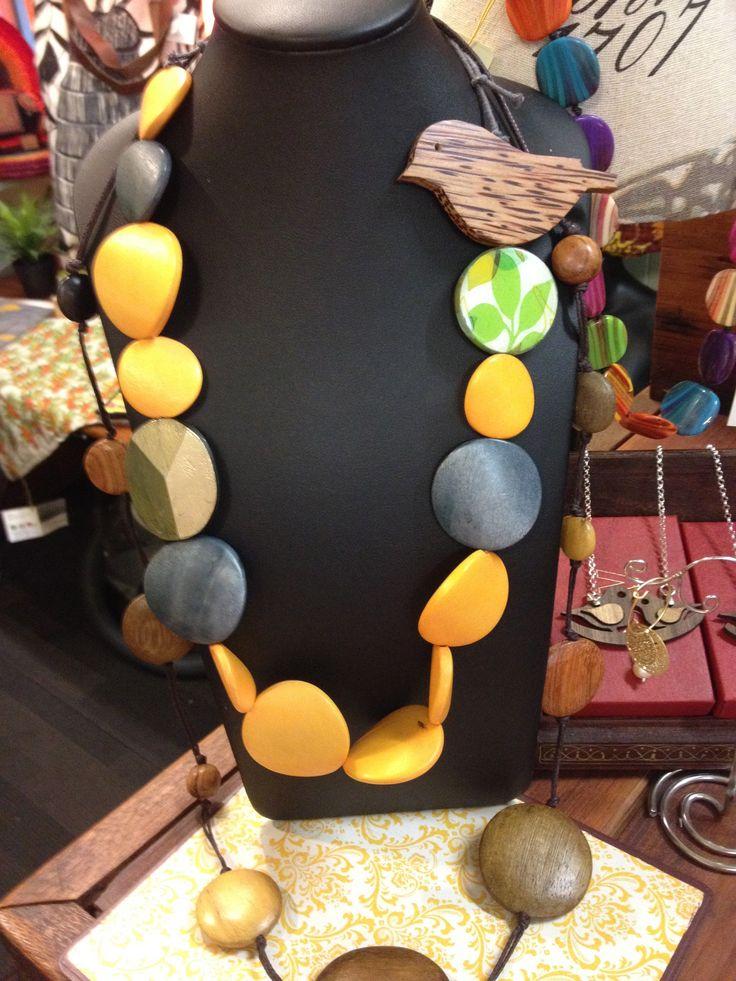 Chunky botanic themed necklace with cute bird.