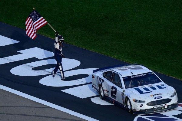 WATCHTOWERDale Earnhardt Jr. defends Brad Keselowski for dropping American flag during victory celeb Dale Earnhardt Jr. defends Brad Keselowski for dropping American flag during victory celebration Keselowski Keselowski lost hold of the American flag while celebrating winning Sundays NASCAR race. Just as he customarily does following every victory Brad Keselowski proudly held an American flag outside the drivers-side door upon winning Sundays NASCAR race at Las Vegas Motor Speedway. But as…