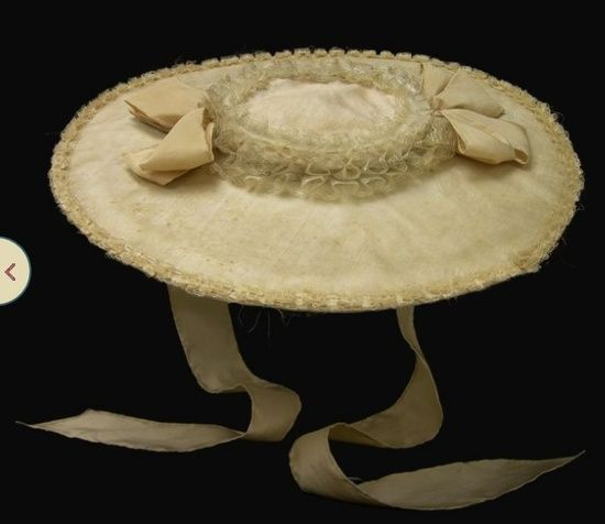 Bergére Hat 1760-1785 English, silk over straw, replaced ties, Colonial Williamsburg