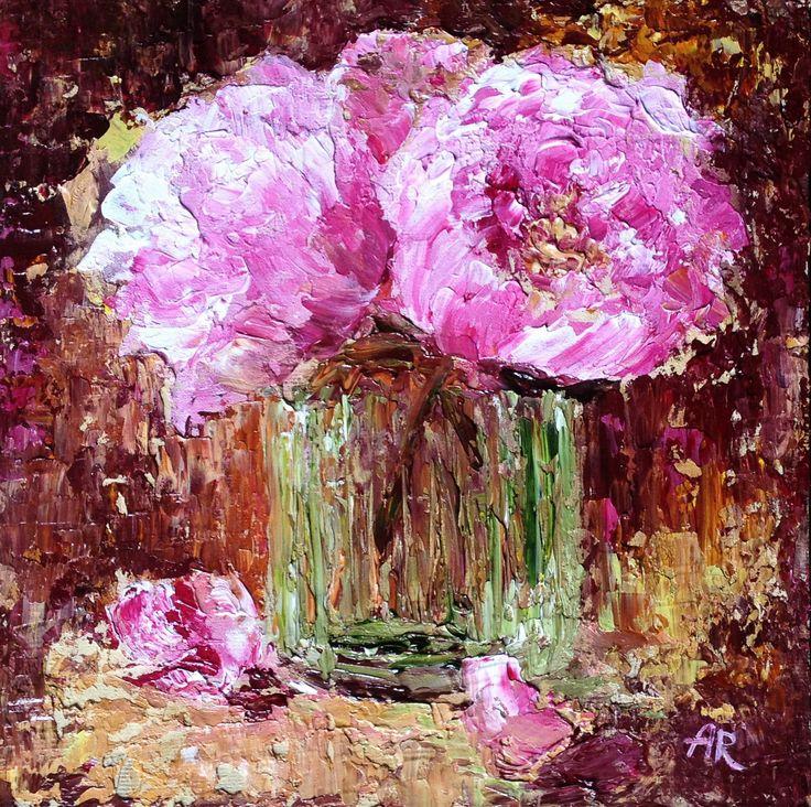 "For Sale: Pink Peonies by alena  | $140 | 8""w 8""h | Original Art | https://www.vangoart.co/alena/pink-peonies-5a80a98b-338b-4168-b60f-2fda270acb70 @VangoArt"