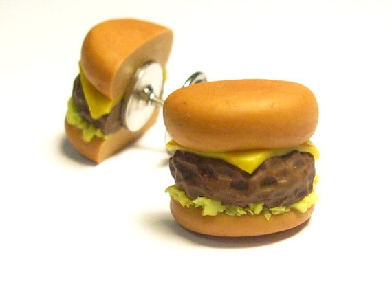 ON SALE Cheeseburger Tie Tack Pin by YumFoodJewelry on Etsy, $13.50