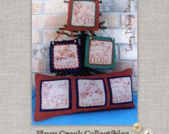 Muñeco de nieve patron para bordar * primitiva mano bordado * Red trabajo design para la decoración de Navidad y regalos