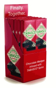 Chocolate wedges infused with Tabasco sauce.