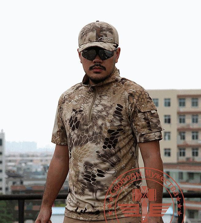 ==> [Free Shipping] Buy Best Army Quality T Shirt Men Summer Outdoors Hunting Camouflage Mens T-shirt Breathable Rattlesnake Tactical Dry Sport TSHIRT Online with LOWEST Price   32717312246