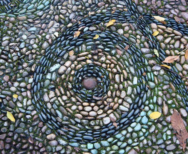River Rock Mosaic With Mossy Grout | Flickr   Photo Sharing! Rock  MosaicPebble MosaicStone MosaicMosaic ArtGarden ...