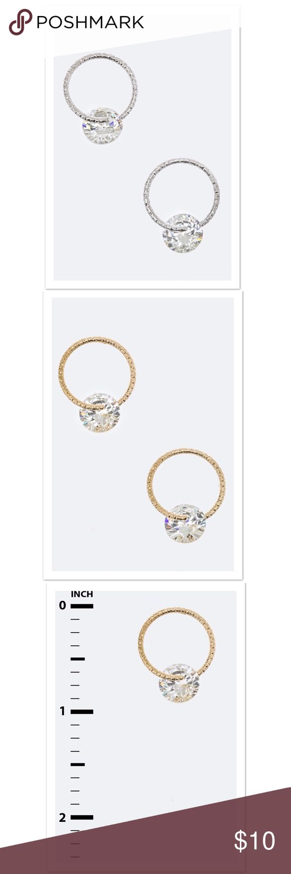 Silver Left {The Allie} CZ Ring Hoop Studs Cubic Zirconia Ring Stud Earrings 	Available in Silver and Gold 	Earrings are approximately  1.5 inches long 	Lead and Nickel Compliant faith + sparkle Jewelry Earrings