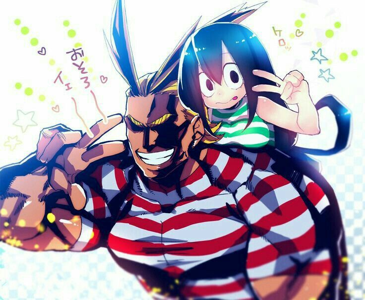 All Might, Tsuyu, piggyback, swimsuits, peace signs, text; My Hero Academia