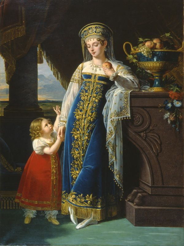 Russian costume in painting. Rober LeFevre. Portrait of Princess M.F. Baryatinskaya with her Daughter Olga. 1817. #cute #kids #Russian #folk