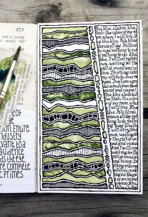 Rebecca Blair art - Moleskine, #041 - art journal page with song lyrics