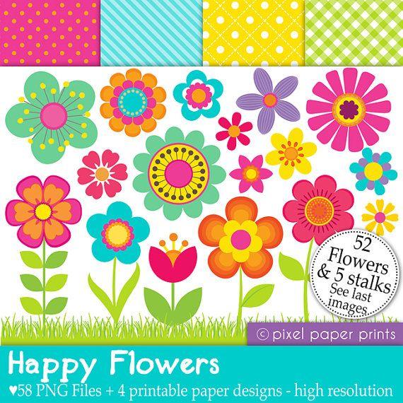 He encontrado este interesante anuncio de Etsy en https://www.etsy.com/es/listing/97706246/happy-flowers-set-de-clip-art-y-papeles