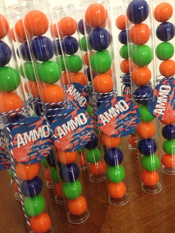 Paintball party? This gum ball favor is right on target. Water bottle wraps also available    We only use gumballs. We will not ship chocolates.