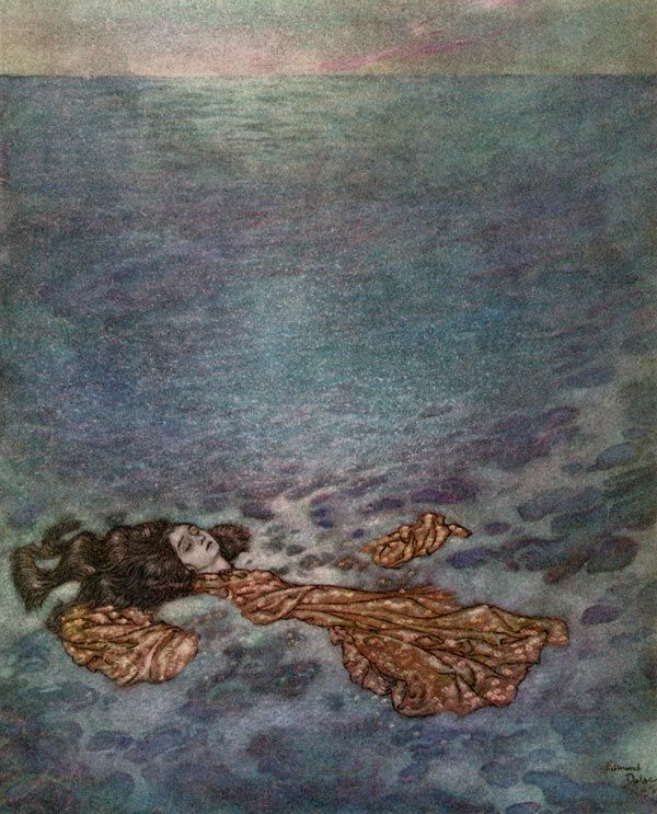 Illustrations of The Little Mermaid. This one features her in death, as her body dissolves into sea foam.