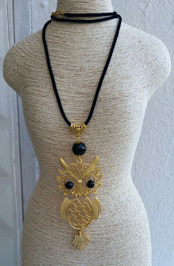 owl pendant necklace with black beads and suede cord by FARILYATASARIM on Etsy https://www.etsy.com/listing/248688605/owl-pendant-necklace-with-black-beads
