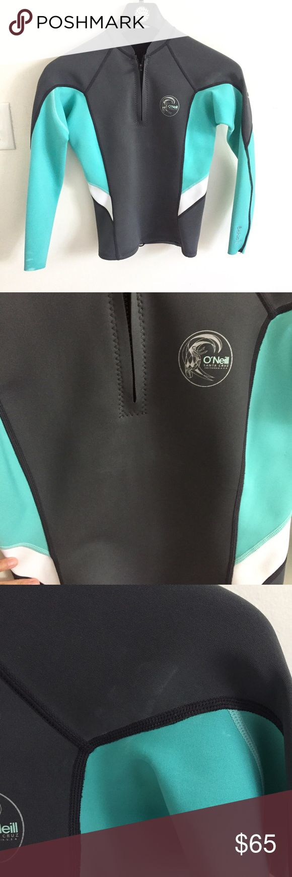 O'Neill wetsuit top Bahia 1 mm size 8 O'Neill wetsuit top Bahia 1 mm size 8- make offer. Great summer spring wetsuit, used in Hawaii a few times. Drawstring bottom, some sunscreen marks on sleeves and above logo. Surfing paddle boarding sup spring suit swim O'Neill Swim
