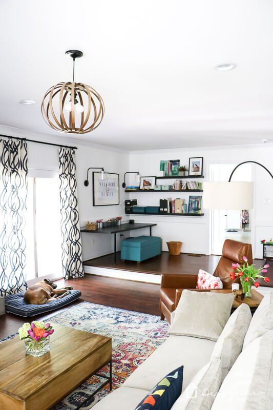 Want A Kid Friendly Family Room That Is Modern And Stylish This Colorful Family Room Is Sophisti Family Room Colors Livingroom Layout Kid Friendly Family Room