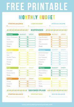 FREE Printable Budget Sheet