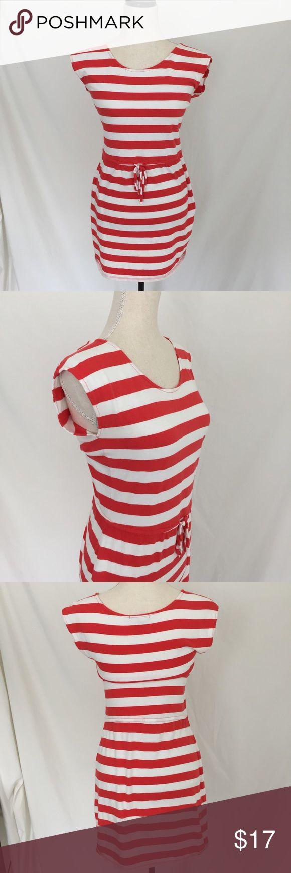Gap Dress XS Sleeveless Orange Stripes Drawstring waist, scoop neck, knee length, orange & white striped, cotton blend; P114 Gap Dresses