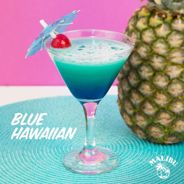 The best summer ever needs a Malibu Blue Hawaiian! Get ready to mix these up for your next cocktail party: 2 Parts Malibu Rum, 2 Parts Pineapple Juice, 1 Part Blue Curacao, Crushed Iced, Maraschino Cherry. HOW TO MIX IT: Fill a cocktail shaker with ice. Add Malibu Rum, pineapple juice and blue curacao, and shake well. Fill a martini glass with crushed ice, pour cocktail and garnish with a maraschino cherry.
