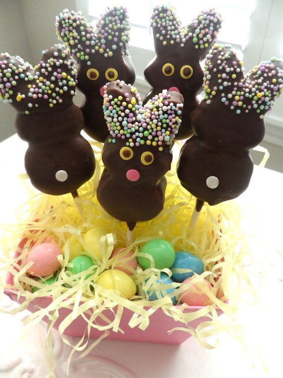 Chocolate Dipped Marshmallow Bunny Peep Pops Frost by FrosttheCake, $12.00: Basket Treats, Treats Frost, Pops Easter, Chocolate Dipped Marshmallows, Easter Baskets, Easter Treats