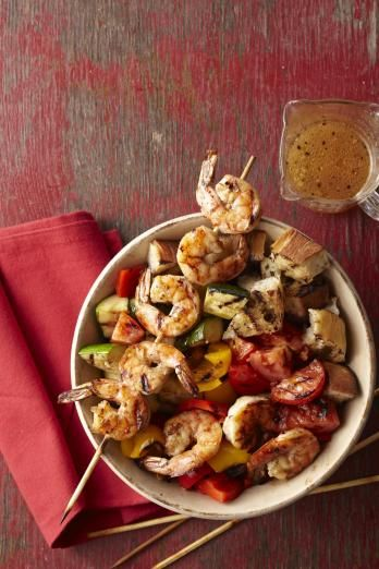 Skewered shrimp panzanella | Living the Country Life