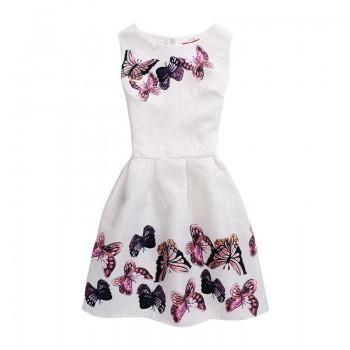 Girl's Butterfly Sleeveless Zip-Up Dress