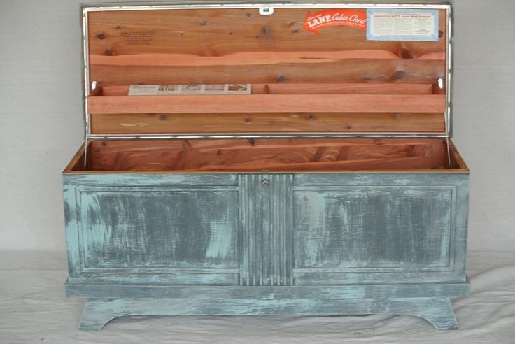 Vintage Lane Cedar Chest Painted Blue Gray Distressed