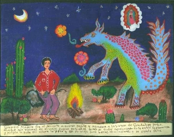Грегори Аладеро отправился в пустыню поесть пейот. Он благодарен Пресвятой Деве Гваделупской за то, что хотя во время этого путешествия у него и случились странные видения, он не испытал страха и не впал в паранойю. Ни одно насекомое, ни одна гадюка его не укусила. Путешествие принесло ему много прекрасных открытий, так что он чувствует себя счастливым.