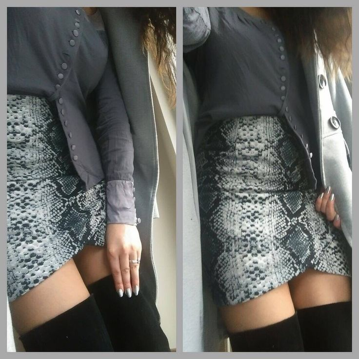 Snake print skirt and over the knee boots. grey shades