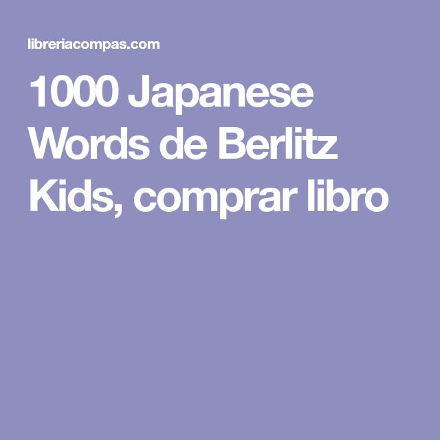 1000 Japanese Words de Berlitz Kids, comprar libro