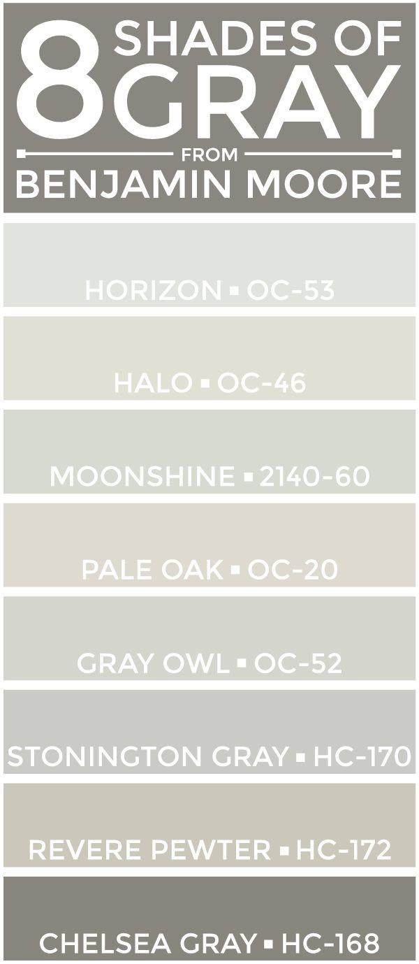 SEE THEM HERE: Horizon (OC-53)   Halo (OC-46)   Moonshine (2140-60)   Pale Oak (OC-20)Gray Owl (OC-52)   Stonington Gray (HC-170)   Revere Pewter (HC-172)   Chelsea Gray (HC-168) A few weeks back, I a