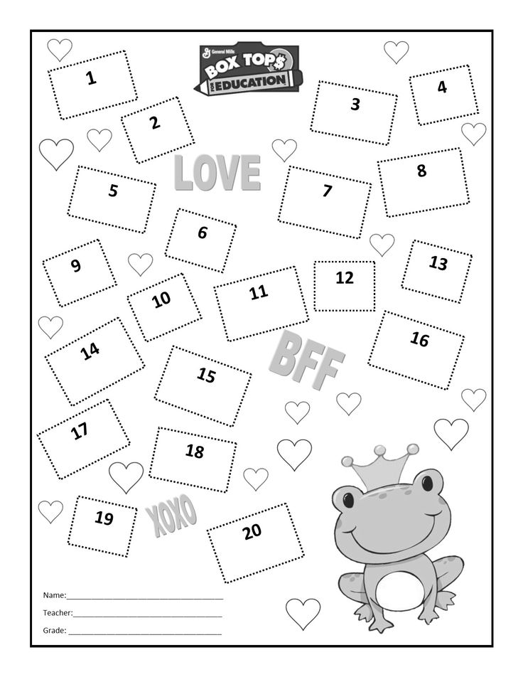 valentine's day box top collection sheet