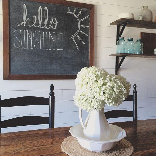 Hello Sunshine! Summer chalkboard. Vintage chalkboard. Shiplap wall. Hydrangeas. Farmhouse style. White and wood. Ball jars.