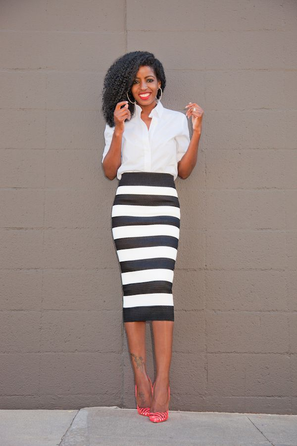 Button-Down Shirt + Striped Pencil Midi Skirt | Style Pantry