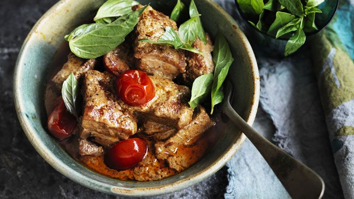 Fiery: Red pork belly curry.