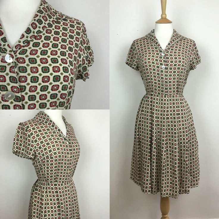 original 1940's geometric print Tea dress size UK 12