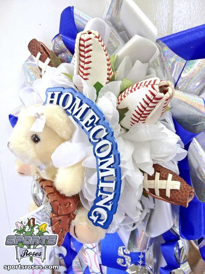 Baseball Roses and Football Roses accent this Homecoming Mum.  Only available online.  Order yours at http://sportro.se/mums-garters