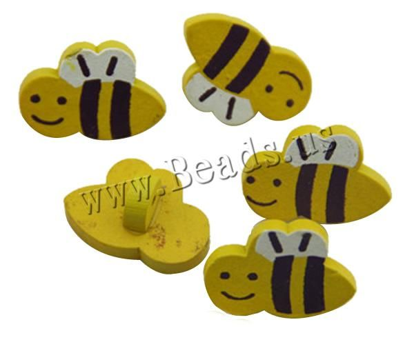 Wood Shank Button, Bee, brushwork, yellow