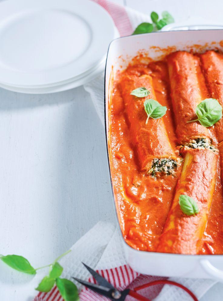 Recette de cannellonis ricotta-épinards, sauce rosée de Ricardo