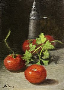"Still Life with Tomatoes, parsley and  antique salt shaker by Natalia Ivan Clarke Oil ~ 7"" x 5"""