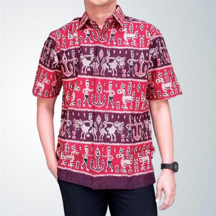 Makin fresh dengan Batik Katun Dayak warna merah untuk hari - hari formal Anda.