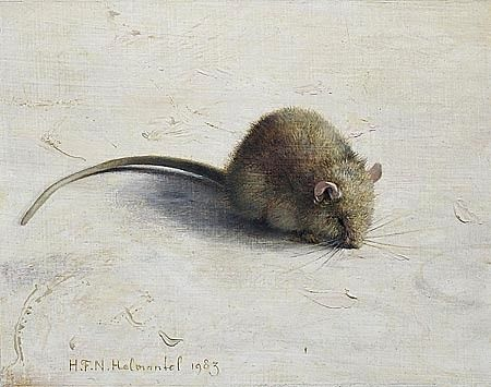 Helmantel . Muisje. 12x15 cm. 1983. It reminded me of Beatrix Potter paintings. Being in the very centre, makes the mouse look even more tiny.